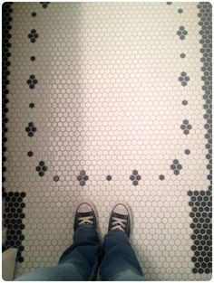 pretty hex tiles as seen on Nicole Curtis / Rehab Addict Our bathrooms growing up had hex tiles. Hex Tile, Penny Tile, Hexagon Tiles, Tiling, Bathroom Floor Tiles, Bathroom Renos, Marble Bathrooms, Bathroom Ideas, Kitchen Floor