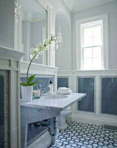 Blue and White Interior Architecture and Mouldings - lovely bathroom