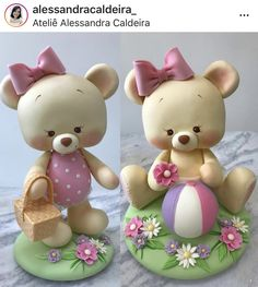 Bear Polymer Clay Figures, Fondant Figures, Polymer Clay Miniatures, Polymer Clay Crafts, Clay Bear, Crea Fimo, Teddy Bear Cakes, Cake Templates, Fondant Animals