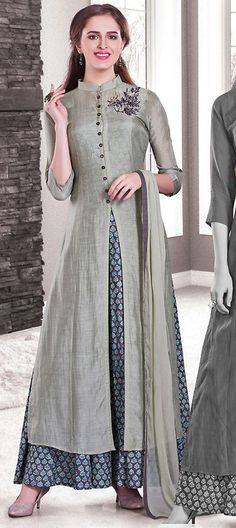 477572: Black and Grey color family stitched Party Wear Salwar Kameez .