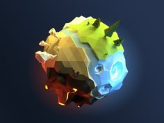 Low poly planet designed by Alex Pushilin. Connect with them on Dribbble; Game Concept, Concept Art, Nausicaa, Planet Design, Low Poly Games, Polygon Art, Modelos 3d, Low Poly Models, 3d Fantasy