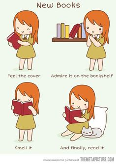 Yup this is EXACTLY what I do before reading a new book! I love the smell of new book in the morning