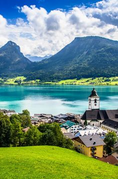 St Wolfgang, Austria on Lake Wolfgangsee. One can ride a hop-on, hop-off water taxi all the way around this beautiful Alpine lake