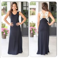 """⭐️$3.95 SHIPPING⭐️NWT Black Crochet Maxi Dress NWT Black Crochet Back Maxi Dress. Such an elegant, beautiful maxi dress! A soft jersey knit with crochet detailing across shoulders/back. Fits true to size, the model is size 4, 5'7"""" wearing the small.  Approximately 60"""" long. Fabric is modal/spandex blend. Made in the USA! Available in Small (0-4), Large (10-12). No Trades and No PaypalSold out of mediums Dresses Maxi"""