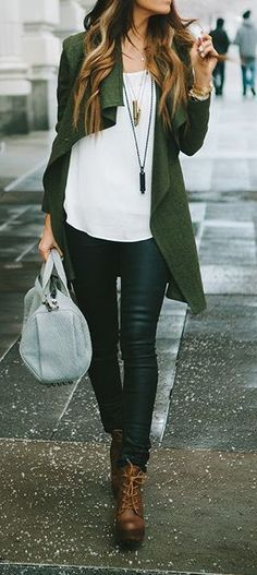#fall #fashion / green cardigan