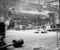 steam engine erecting shop | 54x2 in an erecting shop receiving major repairs.