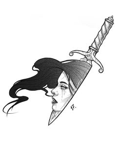 Lady in the Dagger Tattoo Sketches, Tattoo Drawings, Cool Drawings, Drawing Sketches, Pencil Drawings, Tattoos, Desenho Tattoo, Tattoo Stencils, Arte Pop