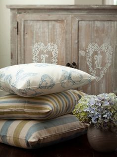 Biggie Best beautiful Interiors - stocked at Voila, Clitheroe Decor, Interior Decorating, Interior, Painted Furniture, Beautiful Interiors, Room Inspiration, Bed Pillows, Pillows, Fabric Wallpaper