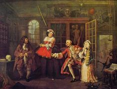 William Hogarth, Matrimonio alla moda: Dal ciarlatano, 1743, olio su tela, 68,5 x 89 cm, comprata da un certo Lane nel 1750, oggi è custodita nella National Gallery a Londra.