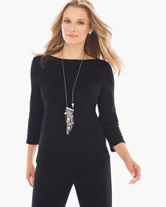 Chico's Women's Bailey Boatneck Top, Black, Size: 4 (20/22 XXL)