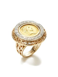 Estate Ca. 1960s Gold Coin Filigree Disc Ring by Tara Compton at Gilt