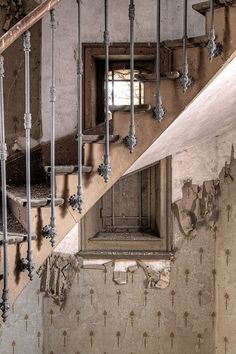 Beautiful stairs in abandoned building in France. @Maria Canavello Mrasek Canavello Mrasek