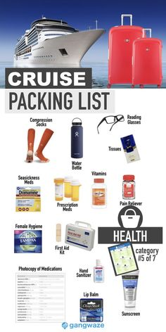 """Our 2020 Cruise Packing List is the only checklist you'll need in preparation for your cruise vacation. From the """"essentials"""" to the """"extras,"""" we've got you . Packing List For Cruise, Packing Checklist, Packing Tips, Cruise Port, Cruise Travel, Cruise Vacation, Female Hygiene, Category 5, Time Activities"""