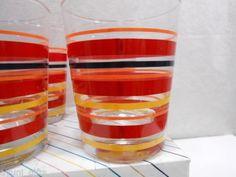 3 Fiestaware Glass Tumblers Scarlet Stripe Genuine Fiesta Accessories HLC
