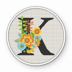 Monogram Cross Stitch, Cross Stitch Rose, Cross Stitch Alphabet, Modern Cross Stitch, Wedding Cross Stitch Patterns, Counted Cross Stitch Patterns, Cross Stitch Designs, Lettering, Aurora