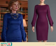 Diane's blue long sleeved dress on The Good Wife.  Outfit Details: http://wornontv.net/39179/ #TheGoodWife (exact color not online)