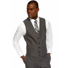 Made Cam Newton Gray Slim Fit Shark Suit Separate Vest (130 BRL) ❤ liked on Polyvore featuring men's fashion, men's clothing, men's outerwear, men's vests, grey, mens vest, mens gray vest, mens slim fit vest, mens vests outerwear and mens grey vest