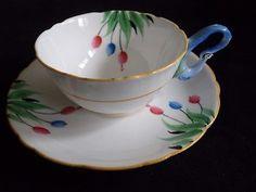 Very Rare Blue Bird Peacock Handle Handpainted Royal Grafton Tea Cup Saucer