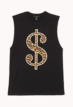 A muscle tee featuring a leopard print dollar sign graphic. Round neckline. Oversized raw cut armholes. Finished trim. Knit. Lightweight.  £12.75 by Forever 21