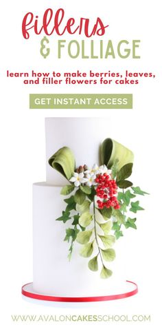 Filler flowers and foliage can bring movement to your sugar flower arrangements and cake designs! In this cake decorating tutorial, our guest instructor shows you how to make 7 different cake decoration pieces including sugar berries, leaves, and filler flowers. With these tips and tricks, you'll be able to make the most stunning of cakes, adorned with gorgeous sugar arrangements! Get instant access to this cake decorating tutorial and make amazing sugar decorations for your next Christmas cake. Cake Decorating For Beginners, Creative Cake Decorating, Cake Decorating Techniques, Cake Decorating Tutorials, Drip Cake Tutorial, Fondant Cake Tutorial, Cake Design Inspiration, School Cake, Winter Cakes