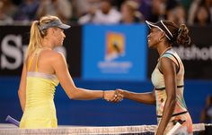 Maria #Sharapova and Venus Williams have an icy handshake.  #tennis #ausopen www.australianopen.com