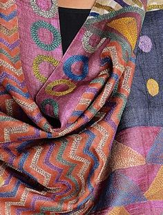 Multi-Color Tussar Silk Kantha Embroidered Stole