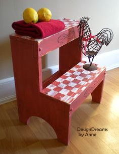 DesignDreams by Anne: Country Red Stepstool using FAT Paint