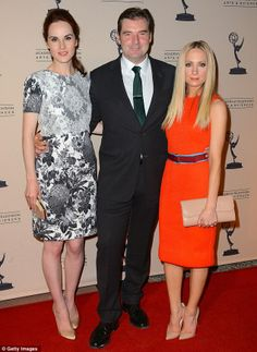 Michelle Dockery was joined by Downton Abbey cast members and fellow nominees Brendan Coyle and Joanne Froggatt at the 64th Primetime Emmy Awards