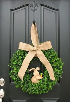 Easter Bunny and Boxwood Wreath Spring Door Wreaths, Easter Wreaths, Holiday Wreaths, Holiday Crafts, Hoppy Easter, Easter Bunny, Easter Eggs, Easter Food, Boxwood Wreath