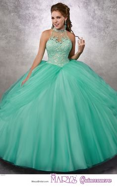Princess style 4Q474 • Tulle quinceanera ball gown with beaded halter neck line, lace bodice, pannier skirt, lace-up back, and sheer bolero.