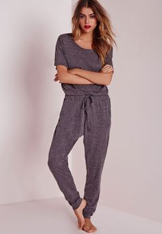 Missguided - Speckle Loungewear Onesie Grey