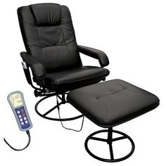 Heated Massage Recliner and Ottoman in Black, More Info Here: http://bacheloronabudget.com/living-room/seating/chairs-all/heated-massage-recliner-ottoman-black/
