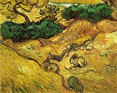 Field with Two Rabbits - Vincent van Gogh . Created in Saint-Rémy, France in December, Located at Van Gogh Museum Vincent Van Gogh, Van Gogh Museum, Paul Gauguin, Van Gogh Arte, Van Gogh Pinturas, Van Gogh Landscapes, Van Gogh Paintings, Impressionist Artists, Pics Art
