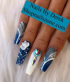 Best Nail Art Decorations To Choose Funky Nails, Glam Nails, Bling Nails, Cute Nails, Pretty Nails, Blue Acrylic Nails, Acrylic Nail Designs, Fabulous Nails, Gorgeous Nails