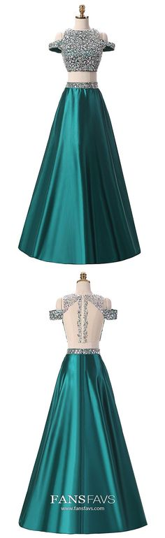 Long Prom Dresses Green, Two Piece Prom Dresses A Line, Satin Prom Dresses Beaded, Open Back Prom Dresses Sequin #FansFavs #greendresses #twopiecedresses #openbackdresses