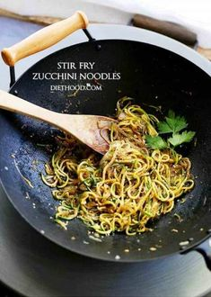 Stir Fry Zucchini Noodles - Delicious, low-carb, healthy Stir Fry made with spiralized zucchini and onions tossed with teriyaki sauce and toasted sesame seeds. Sub coconut aminos. Stir Fry Zucchini Noodles, Zucchini Noodle Recipes, Zoodle Recipes, Spiralizer Recipes, Veggie Noodles, Vegetable Recipes, Pasta Recipes, Low Carb Recipes, Diet Recipes