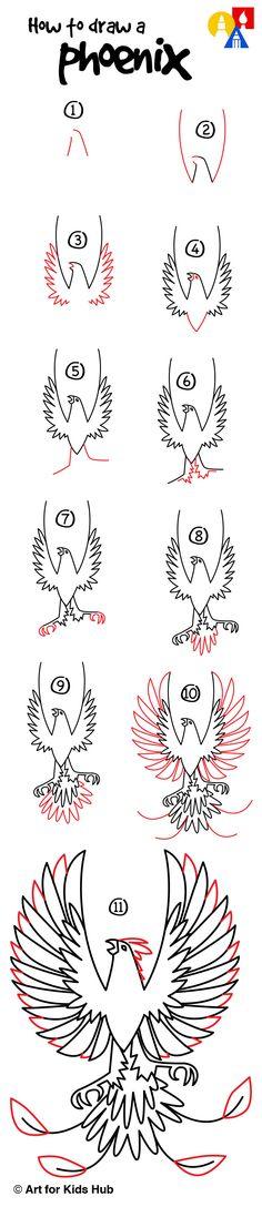 Wie zeichnet man ein Phoenix - Art For Kids Hub - How to draw - Birds Phoenix Drawing, Phoenix Art, Phoenix Painting, Art For Kids Hub, Step By Step Drawing, Simple Art, Drawing For Kids, Learn To Draw, Oeuvre D'art