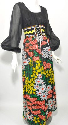 Corset Lace Waist Peasant Dress circa 1970s