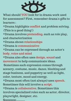 What should YOU look for in drama work used for assessment? First,… What should YOU look for in drama work used for assessment? Drama Teacher, Drama Class, Work Drama, Drama Drama, Drama Activities, Drama Games, Acting Class, Acting Tips, Drama Theatre