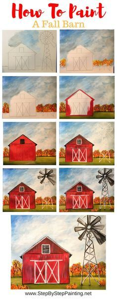 How To Paint A Fall Barn - Step By Step Painting geometric canvas, canvas art kids, painting idea canvas Painting Lessons, Painting Techniques, Art Lessons, Beginner Painting, Diy Painting, Painting & Drawing, Canvas Painting Tutorials, Matte Painting, Tole Painting