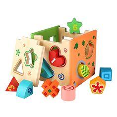 Peradix Wooden Shape Sorter Preschool Educational Toy Color Shape Recognition Intelligence Toys Bricks *** Additional info @