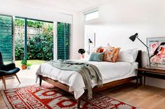Bedroom: The modern angles on the furniture are Type 4, however the rug and cushions on the bed are Type 3. #DYT #Decorating