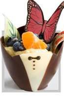 Kane Candy Chocolate Tuxedo Party Cup filled with mousse, fruit & chocolate decorations.  Easy & Beautiful!    Made In USA  KaneCandy.com