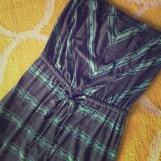 """Mossimo Aztec Dress Strapless dark gray and teal Mossimo dress. Lightweight & perfect for summer. Has elastic at top and a draw string waist. 28"""" long, size medium. 62% polyester, 33% rayon, 5% spandex. Mossimo Supply Co Dresses Strapless"""