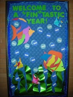 "cool back to school bulletin board classroom-organization--could be end of the school year too! ""thanks for a fin-tastic year"". Could also write ""Its Been a Fin-Tastic year!"" At the end of the school year. Teacher Bulletin Boards, Back To School Bulletin Boards, Preschool Bulletin Boards, Bullentin Boards, Fish Bulletin Boards, Rainbow Fish Bulletin Board, School Classroom, Classroom Themes, Classroom Door"