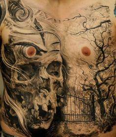 A truly ghoulish cemetery scene. #InkedMagazine #skull #cemetery #ghoulish #tattoo #tattoos #inked