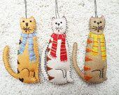 """Wool Felt Appliqued Cat Ornament 5"""""""