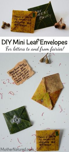 Mini Leaf Envelopes for letters to and from fairies!