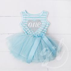 """Birthday Dress Silver Heart """"ONE"""" Aqua Striped Sleeveless - Grace and Lucille 1st Birthday Dresses, First Birthday Outfit Girl, Baby Birthday, Dress Outfits, Girl Outfits, Cinderella Princess, Princess Party, Tulle Tutu, Silver Dress"""