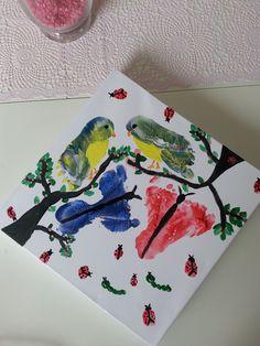 herfst; knutselen met voetjes, handjes, vogels, schilderen, verf, kinderen